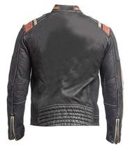 Cafe Racer Retro Biker Distressed Black Vintage Motorcycle Leather Jacket image 3