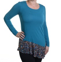 Cable & Gauge Teal Long Sleeve Printed Hem Blouse Size S - $16.82