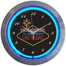 "Las Vegas Welcome Art Neon Clock 15""x15"" - $59.00"