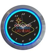 """Las Vegas Welcome Art Neon Clock 15""""x15"""" - $59.00"""