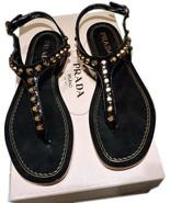 $790 PRADA Black Gold Studded T-Strap Flat Shoes Thongs Slides Sandals 37 - $359.00