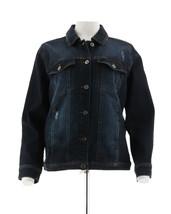 Studio Denim Co Denim Distressed Jean Jacket Drk Indigo Wash M NEW A307138 - $38.59