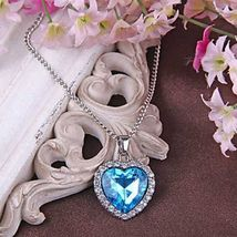 Women Pendant Necklace Blue Sapphire Heart Austria Crystal - 1x Chosen at Random image 5