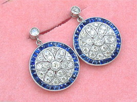 EDWARDIAN to ART DECO 1.8ctw DIAMOND 1.8ctw SAPPHIRE HALO STUD DANGLE EA... - $3,955.05