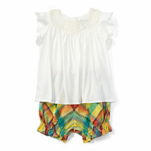Ralph Lauren Baby Girl's Lace Yoke Cotton Top & Shot Antique White 12 Mo... - $28.99