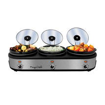 MegaChef Triple 2.5 Quart Slow Cooker and Buffet Server in Brushed Silve... - $86.60