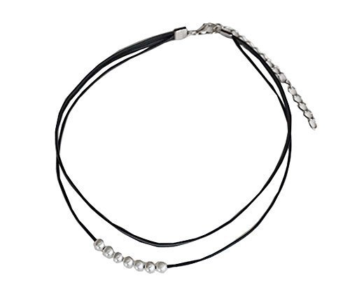 7 Beads Neck Strap The Fashion Black Tape Necklace