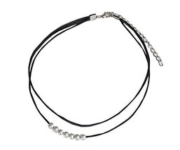7 Beads Neck Strap The Fashion Black Tape Necklace - $13.66