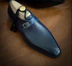 Handmade Men's Blue Leather Monk Strap Dress/Formal Shoes image 4