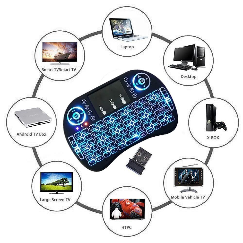 NEW Mini 2.4G Backlit Wireless Touchpad Keyboard Air Mouse For TV Box PC Android for sale  USA