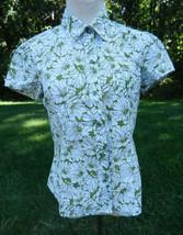 LIZ CLAIBORNE Womens Top M Green White Floral SS Button Front Camp Shirt... - $21.77
