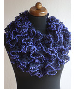Ruffle scarf, Frilly scarf, Knitted scarf, Purple scarf, Mothers day gift - $12.00