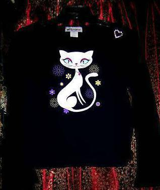 Girls White Siamese Cat on Navy/Blk Jersey w/Rhstone Heart sz. 34