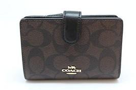Coach Signature PVC Medium Corner Zip Wallet Brown Black F23553 - $69.30
