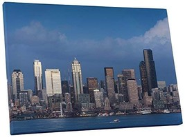 "Pingo World 0901Q20RED4 ""Seattle Day Skyline"" Gallery Wrapped Canvas Wall Art Pr - $47.47"