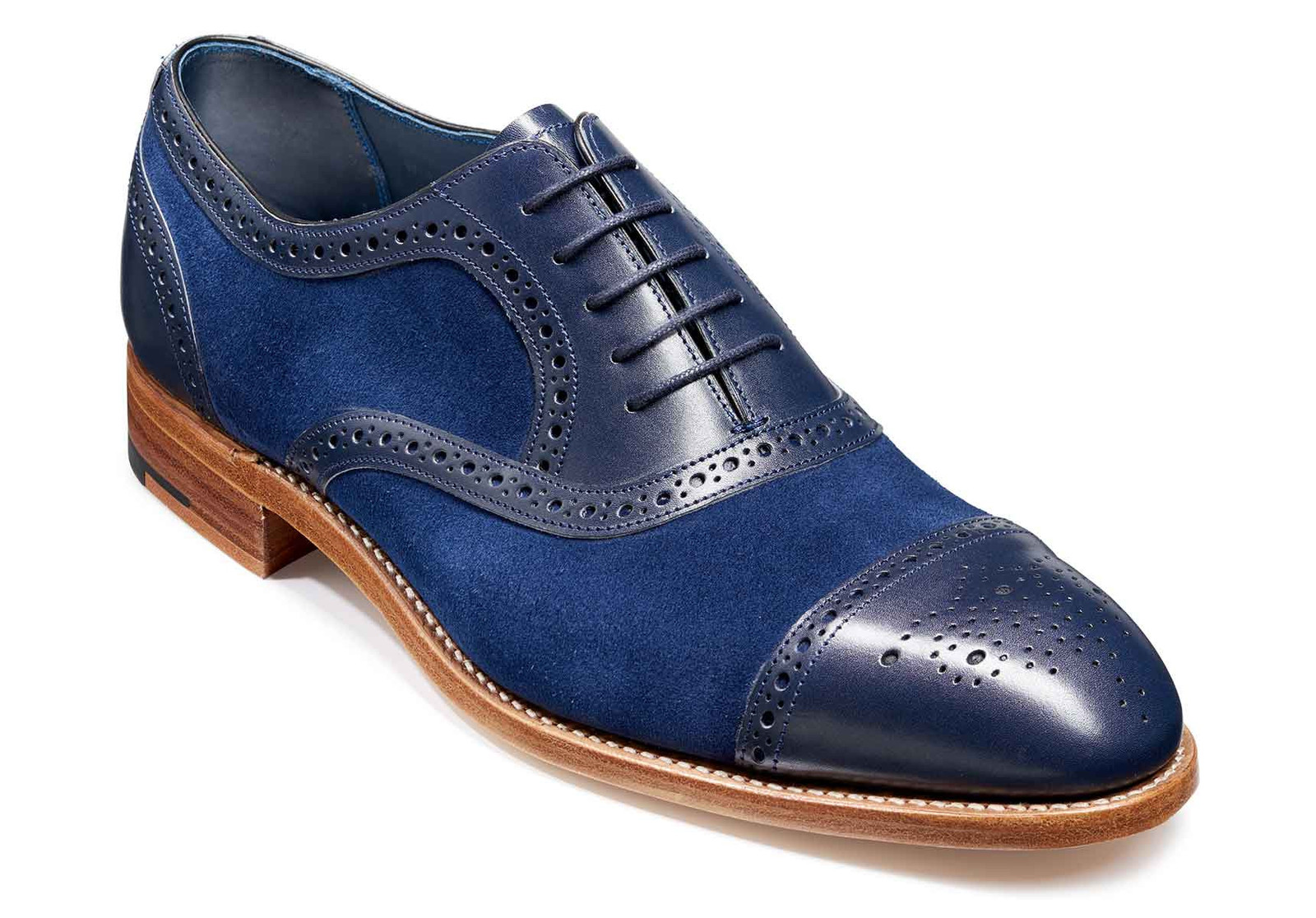 Handmade Men's Blue Suede & Leather Heart Medallion Oxford Shoes