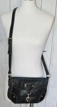 Ralph Lauren Women's Black Leather Handbag Purse Silver Tone Accents - $34.64