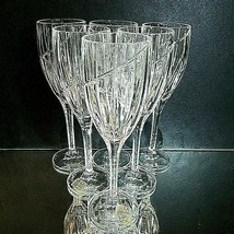 6 (Six) MIKASA UPTOWN Cut Lead Crystal Wine Goblets Glasses DISCONTINUED - $74.99