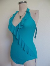 NWT Be Creative Turquoise One Piece Swimsuit 8 $128. Grandeur Ruffle Detail - $40.19