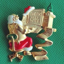 DANECRAFT Christmas Brooch Pin Santa at Computer PC Check List Twice Signed  - $24.14