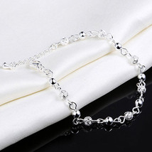 USA New Women Sterling Silver Plated Chain Bangle Cuff Charm Bracelet Jewelry - $10.88