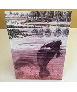 """Manatee Old Florida Style on Matte Tile with easel 8"""" x 6"""" Handmade - $8.79"""