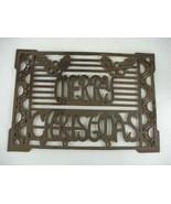 "Cracker Barrel Cast Iron Doormat Ornate MERRY CHRISTMAS 22"" X 14"" - $98.99"