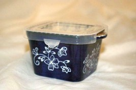Temptations 2019 Floral Lace Dark Blue Square Ramekin Plastic Storage Co... - $6.23