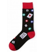 Playing Cards Poker Crew Socks Size 8-12  Adult Black and Red Socks New  - $8.90