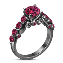 Ladies Engagement Ring 14k Black Gold Plated 925 Silver Round Cut Pink Sapphire - $85.49