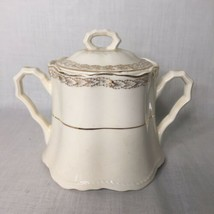 Crooksville China Vintage Sugar Bowl With Lid Gold Leaves - $12.86