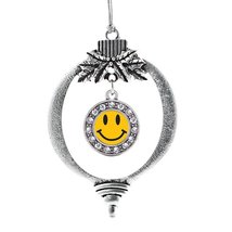 Inspired Silver Smiley Face Circle Holiday Decoration Christmas Tree Orn... - $14.69
