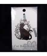 Silver tone Cat and flowers metal bookmark Japan NEW on Card - $5.00