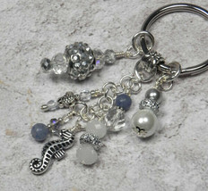 Seahorse Beach Theme Crystal Glass Beaded Handmade Keychain Split Key Ri... - $18.42