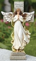 Forever With The Angels Memorial Cross Angel Garden Statue - $41.99