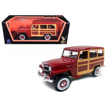 1955 Willys Jeep Station Wagon Burgundy 1/18 Diecast Model Car by Road S... - $75.38