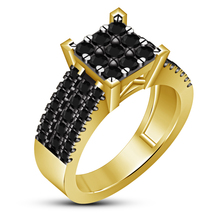 Wedding Engagement Ring Round Cut Black Diamond Yellow Gold Plated 925 S... - $100.39 CAD