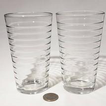 Set of 2 Libbey Crisa Tumblers Horizontal Rings Juice Water Drinking Gla... - $9.95