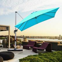 10 Ft 360 Degree Tilt Aluminum Square Patio Offset Cantilever Umbrella-Blue - $471.80
