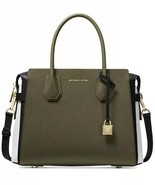 NWT MICHAEL KORS MERCER MEDIUM TRI-COLOR PEBBLED LEATHER BELTED SATCHEL - $217.79