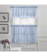 Gypsy Crushed Voile Ruffle Kitchen Window Curtain Tiers or Valance Blue - $13.89
