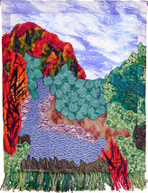 Flowing Brook: Quilted Art Wall Hanging - $295.00