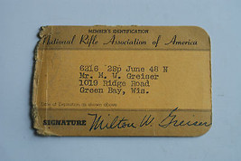 Vintage 1948? National Rifle Association America Identification Card Gre... - $9.99