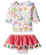 Mud Pie Girls' Baby Floral Flamingo Two Piece Rash Guard Swimwear, White... - $34.29