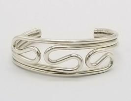 Heavy .925 Sterling Silver Modernist Swirl Wire Cuff Bracelet 30g Vintage - $79.19