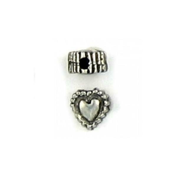 2pcs. Heart Fine Pewter Beads - 5mm L X 5mm W X 3mm D; Hole 1mm
