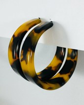 Tortoise Shell Hoop Earrings Resin Acetate Jewelry 1.5 inches - $15.99