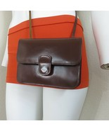 Vintage 80s Mundi Small Brown All Leather Crossbody Handbag Purse with M... - $39.55