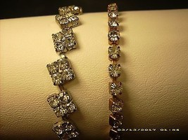 VINTAGE 1960s TENNIS BRACELET 18KGT WITH 33 BRILLIANT FACETED RHINESTONE... - $18.32