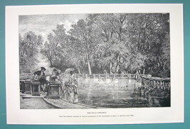 ROME Life in Villa Torlonia Pretty Landscape Basin - 1888 Antique Print - $12.60